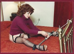 1970's Vintage Risque Photo~Tied Up Kidnapped Pinup in Stockings & High Heels