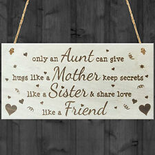 Only An Aunt Wooden Hanging Plaque Shabby Chic Auntie Love Sign Friendship Gift