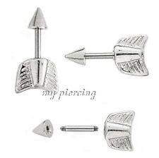 "2pcs. Arrow with Cone Spike Tragus Piercing Barbell 16g-1/4"" 316L Surgical Steel"