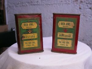 vintage red owl spice tins mustard and marjoram