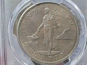 1903s Peso,KM# 168,PCGS Certified AU50,U.S.-Philippines Silver Crown.