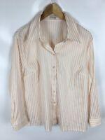ATELIER GS Bluse, lachsfarben weiß gestreift, Größe 22, Baumwolle