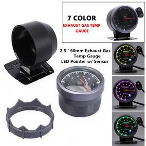 12V 2.5'' 60mm Exhaust Gas Temp Gauge 7 Color Light LED Pointer EGT w/ Sensor