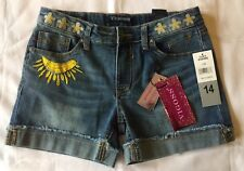 VIGOSS Jeans Girls Blue Denim Mid Shorts With Adjustable Waistband