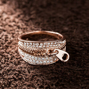 Women Zipper Decoration Cocktail Ring Austrian Crystal 18k Gold Plated Jewelry