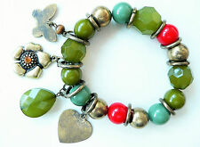 ACCESSORIZE BRACELET - GREEN, RED & GOLD BEADS_BUTTERFLY, HEART & FLOWER DROP