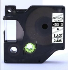 """Replacement D1 45010 Label Cartridge 12mm 1/2"""" Black on Clear Compatible W/ Dymo"""
