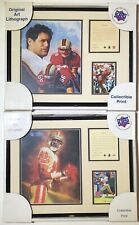 Jerry Rice & Steve Young SF 49ers Framed Lithograph Art Print Set Of 2 NFL Lot