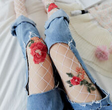 Womens White Peony Tights Fishnet Floral Punk Stockings Lady Sexy Mesh Pantyhose