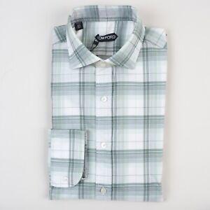 NWT Tom Ford Dress Shirt 41 /16 Tailored Fit Plaid Checks green White Luxury
