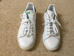 Adidas Stan Smith White Trainers With Green Flash - Size Uk 5.5 Eur 38.5