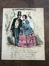 More details for 1880s printed and coloured valentines letter - gentleman and lady