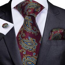 USA Red Blue Silk Paisley Tie Set Mens Necktie Pocket Square Cufflinks Wedding