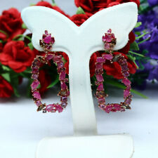NATURAL PINK RED RUBY WITH TOURMALINE LONG EARRINGS 925 STELRING SILVER
