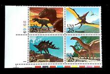 1989 Plate Block 2425! Mnh Us Prehistoric Animals T-Rex Brontosaurus! $5.85