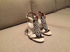 Dries Van Noten Silver Beaded Embellished Ivory Leather Sandals Size 38 RARE