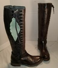 NEW BED STU WOMEN'S BRUNLEY BLACK DIP DYE LEATHER KNEE HIGH CORSET BOOTS SIZE 6