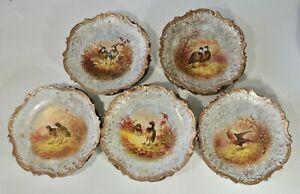 11 CA Charles Ahrenfeldt Limoges France Game Birds Gold Scalloped Rim Plates EUC