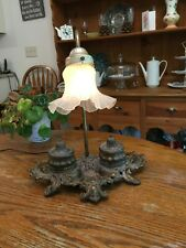 "Antique Brass/Metal Double Inkwell Lamp Signed ""Brite Metal"" 1930's  Working!"