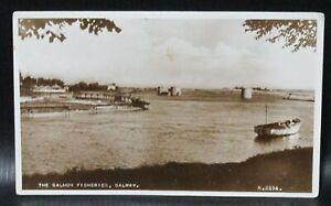Vintage Postcard Salmon Fisheries Galway Ireland