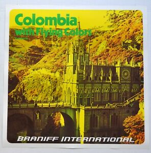 Vintage 1970's Braniff International Airlines Poster - Colombia (Version 1)