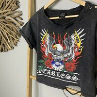 One Way Size 8 Flaming Eagle Print Crop Top Cropped Tee T-Shirt Faded Black XS