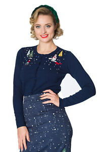 Women's Blue Vintage Retro Christmas Town Embroidery Cardigan BANNED Apparel