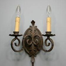 Vtg Wrought Iron Candelabra Wall Scone Lamp Thumb Switch Dual Light Medieval