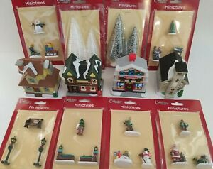 Christmas Winter Cobblestone Village Miniatures Accessories, Select: Type