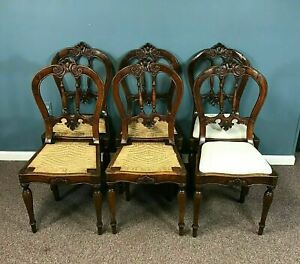 Set of 6 18th Century Italian Carved Dining Chairs