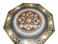 "24"" Black Marble Top Coffee Table Inlay Carnelian Floral Art Christmas Decor"