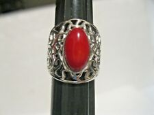 STERLING 925 FILIGREE BANDED RED AGATE CABOCHON RING/BAND