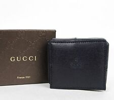 New Gucci Men's Navy Blue Coin Pokect Wallet w/Inner Paisley Design 337837 4093