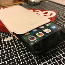 iPhone 7 Genuine Redneck Handcrafted Real Soft Leather Slip Case Pouch White