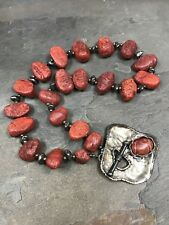 SILPADA - N0900 - RED SPONGE CORAL & STERLING SILVER NECKLACE - VERY RARE!!!