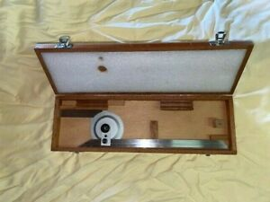 """PROTRACTOR BROWN & SHARPE 490 12"""" Swiss made stainless in wooden box"""