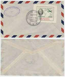 """ECUADOR 1949 F. D. ROOSEVELT AIR 30 Cents MINISHEET ON COVER """"QUITO"""" Cds FVF"""