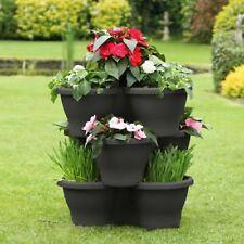 More details for large vertical garden stackable triple pocket flower pot planter self watering