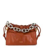 YUZEFI Bom mini chain-embellished leather tote TAN 249389