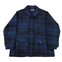 Vintage Pendleton Mackinaw Cruiser Jacket Coat Mens Large Blue Black Plaid USA
