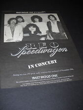 Reo Speedwagon In Concert presented by Westwood One 1982 Promo Poster Ad