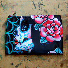 Day of the Dead Sugar Skull Girl Calavera Cosmetic Bag Small Clutch Makeup Case