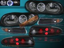 98-02 CHEVY CAMARO HALO BLK HEADLIGHT + BUMPER LAMPS + DARK SMOKE TAIL LIGHTS