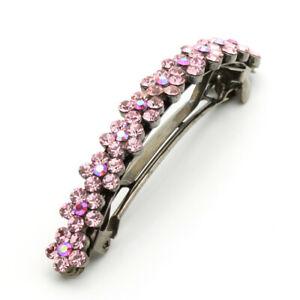 Hand Made Hair Jewelry swarovski crystal Curved Flower Barrette, Pink Rhinestone