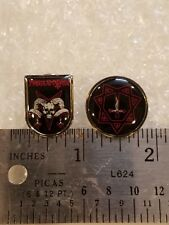 set of 2 PROCLAMATION enamel pins (blasphemy, beherit, sacrificio, sarcofago)