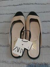 Zara Flat Shoe Size 7.5 Mule Beige/Black