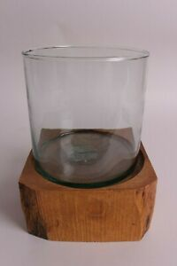 """New Pottery Barn Live Edge wood & glass hurricane (for pillar candle) 9 h x 7"""" w"""
