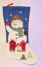 BLUE AND WHITE CHRISTMAS STOCKING * SNOWMAN ** 19 INCHES ** CUTE*