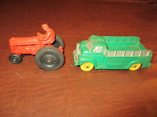 VINTAGE ANTIQUE 1950s AUBURN TOYS RUBBER TOY FARM TRACTOR & WORK STAKE TRUCK