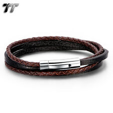 TT Black/Brown Real Leather Double Row 316L S.Steel Clip Bracelet (BR234) NEW